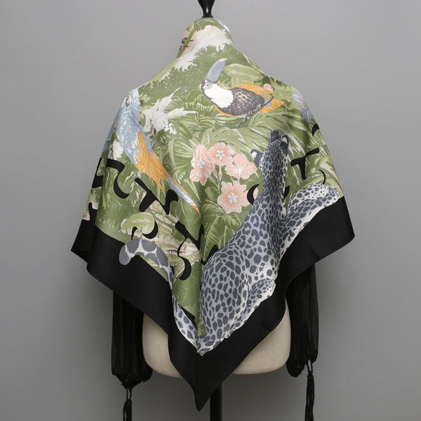 Safari Puzzle Silk Scarf | Black - A R A M L E E ® Convertible Transformable Italian Leather Handbag Backpack Purse