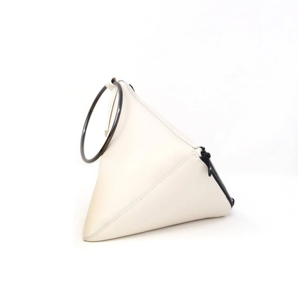 Tetra Convertible Crossbody Bag | Ivory - A R A M L E E ® Convertible Transformable Italian Leather Handbag Backpack Purse