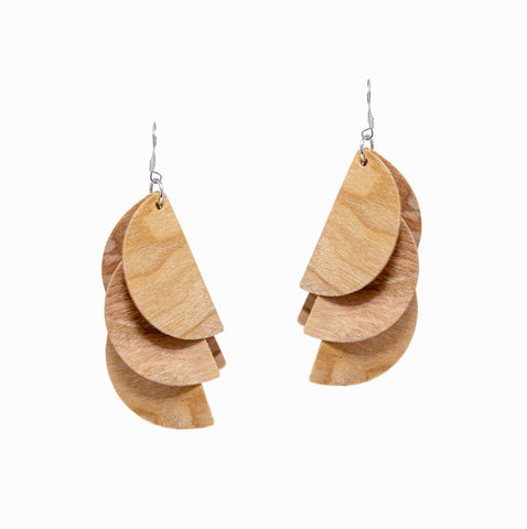 Madeline Earrings | Natural Wood - A R A M L E E ® Convertible Transformable Italian Leather Handbag Backpack Purse