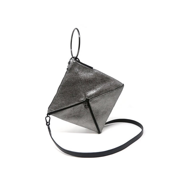 Tetra Convertible Crossbody Bag | Metallic - A R A M L E E ® Convertible Transformable Italian Leather Handbag Backpack Purse