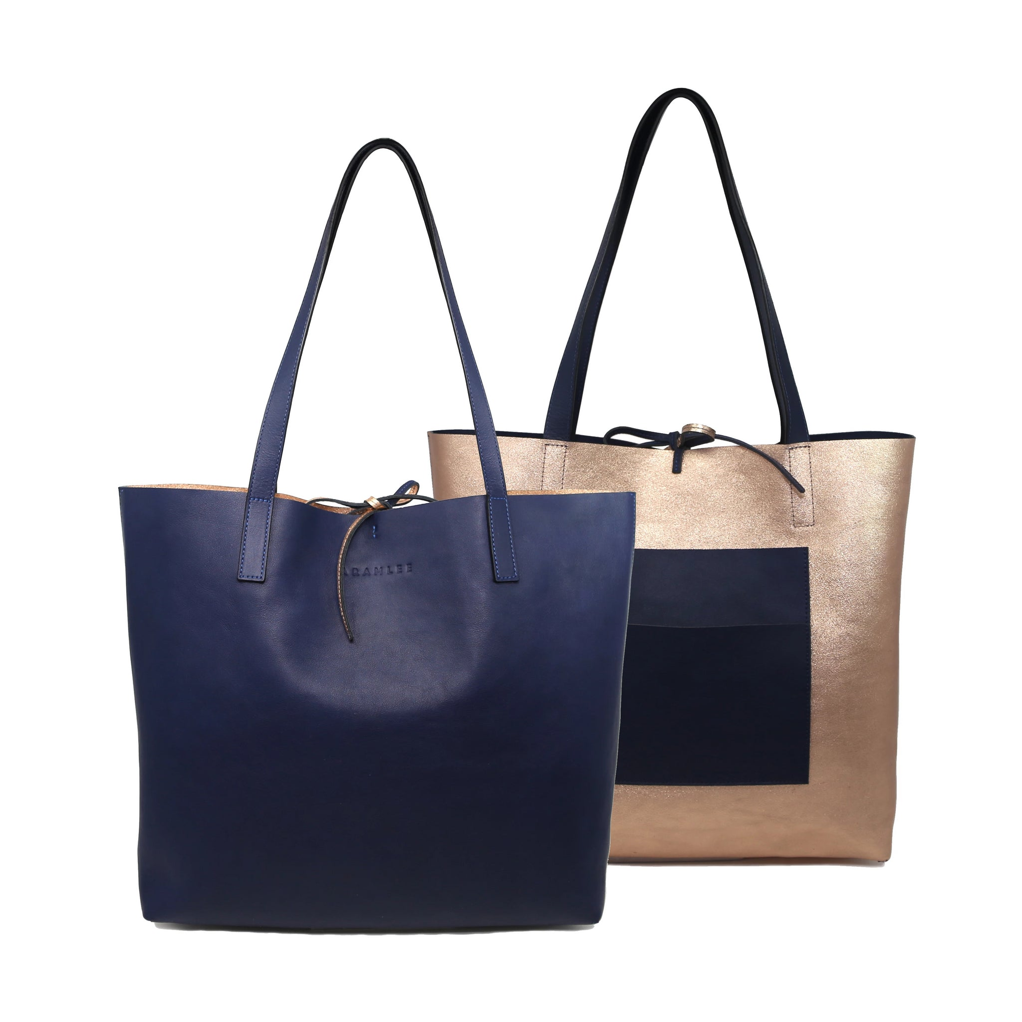 Kala Reversible Tote | Navy + Rosegold - A R A M L E E ® Convertible Transformable Italian Leather Handbag Backpack Purse