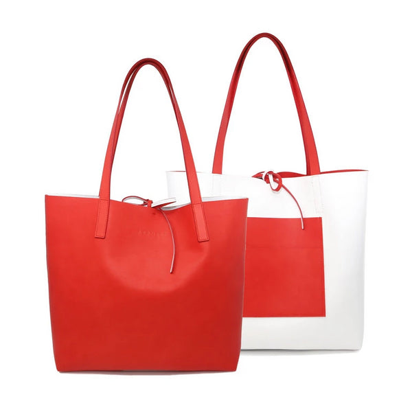 Kala Reversible Tote | Red + White - A R A M L E E ® Convertible Transformable Italian Leather Handbag Backpack Purse