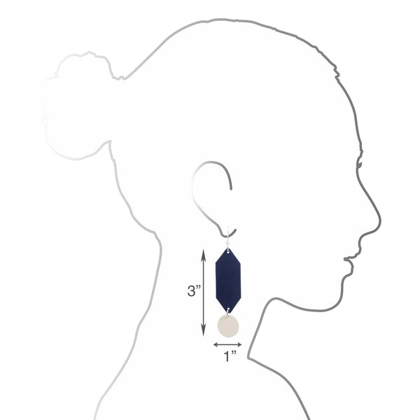 Prism Earrings | Navy - A R A M L E E ® Convertible Transformable Italian Leather Handbag Backpack Purse
