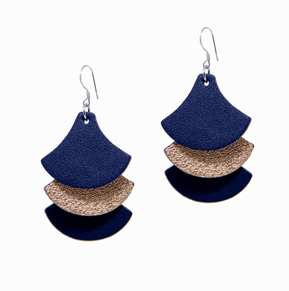 Tassels Earrings | Navy + Rosegold - A R A M L E E ® Convertible Transformable Italian Leather Handbag Backpack Purse