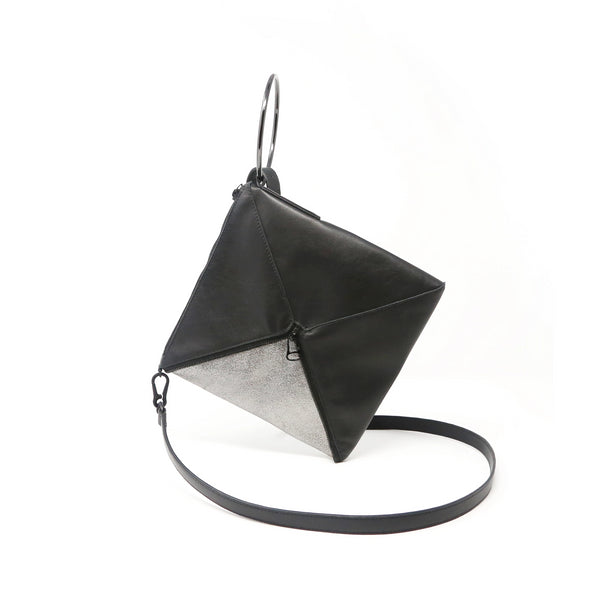 Tetra Convertible Crossbody Bag | Black - A R A M L E E ® Convertible Transformable Italian Leather Handbag Backpack Purse