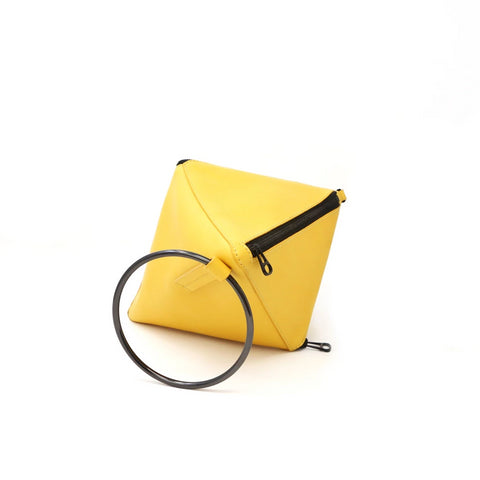 Tetra Convertible Crossbody Bag | Yellow - A R A M L E E ® Convertible Transformable Italian Leather Handbag Backpack Purse