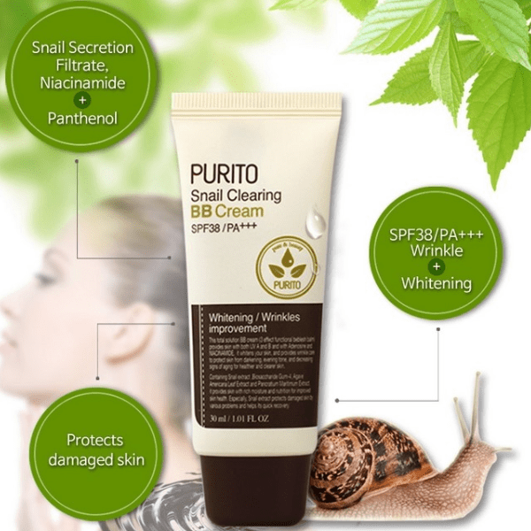 Purito. Snail Clearing BB Cream SPF38 PA+++ [#21 Light Beige] BB CREAM - Lady Bonita