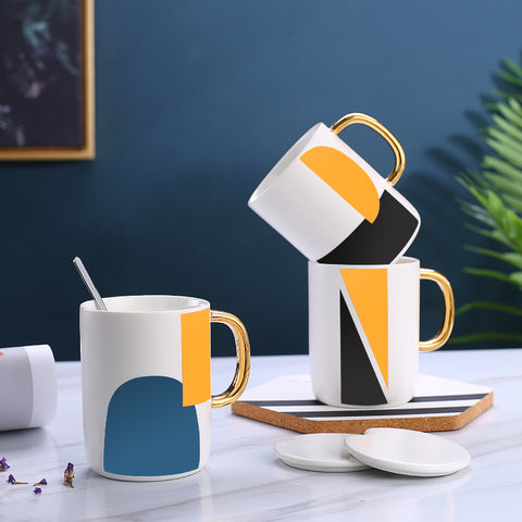 Image of Creative milk breakfast ceramic cup with lid spoon mug personality trend men and women cups domestic coffee cups