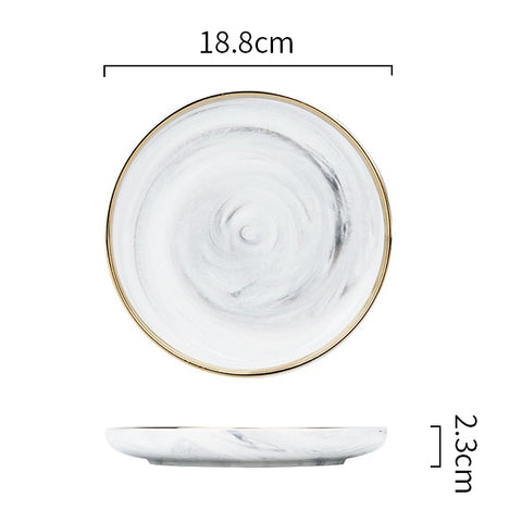 Image of European-style Phnom Penh marble ceramic tableware household set plate dish dish noodle bowl soup bowl