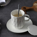 Ins Nordic minimalist breakfast cup ceramic spoon coffee cup with lid creative office water cup household mug