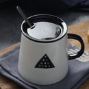 Nordic large-capacity coffee cup ceramic with lid with spoon tea cup mug creative personality simple breakfast cup