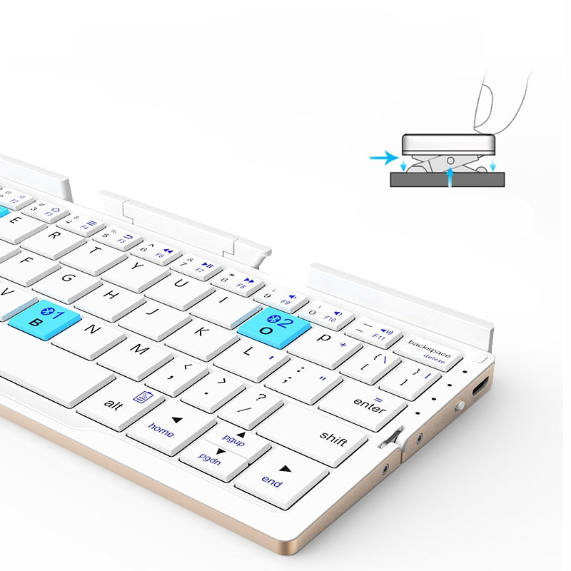 Portable folding bluetooth Wireless charging keyboard for IOS and android PC equipment