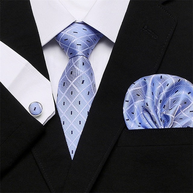 35 Styles Mens Tie palid 100% Silk Classic Jacquard Woven Extra long Tie Hanky Cufflink Set For Men Formal Wedding Party