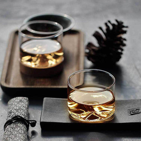 Image of Mountain Whiskey Glass with Wooden Base Rocks Beer Glass Wine Cup Irish Bourbon Scotch Whiskey Glasses Set Bar Hotel Drinkware