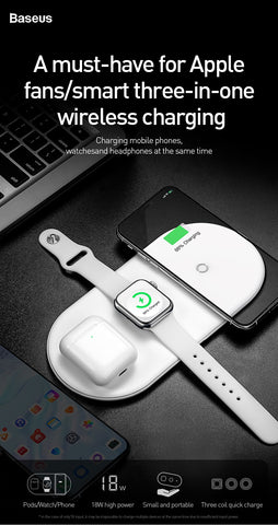 3 in 1 Wireless Charger For iPhone 8 Xs Max Xr Apple Watch 4/3/2/1 Airpods Fast Wireless Charging Pad Born for Apple Fans