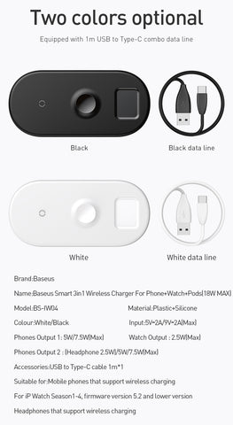 Image of 3 in 1 Wireless Charger For iPhone 8 Xs Max Xr Apple Watch 4/3/2/1 Airpods Fast Wireless Charging Pad Born for Apple Fans