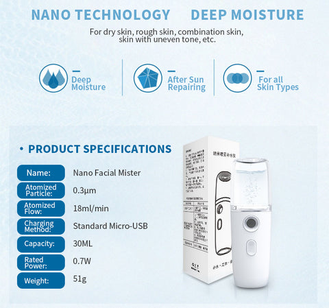 Image of 2019 New Portable USB Rechargeable Nano Humidifier Cooling Mist Sprayer Nano Facial Steamer Beauty Device