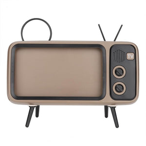 Retro TV-shaped Bluetooth Speaker HD Stereo Loudspeaker for under 6 Inch Mobile Phone Stand