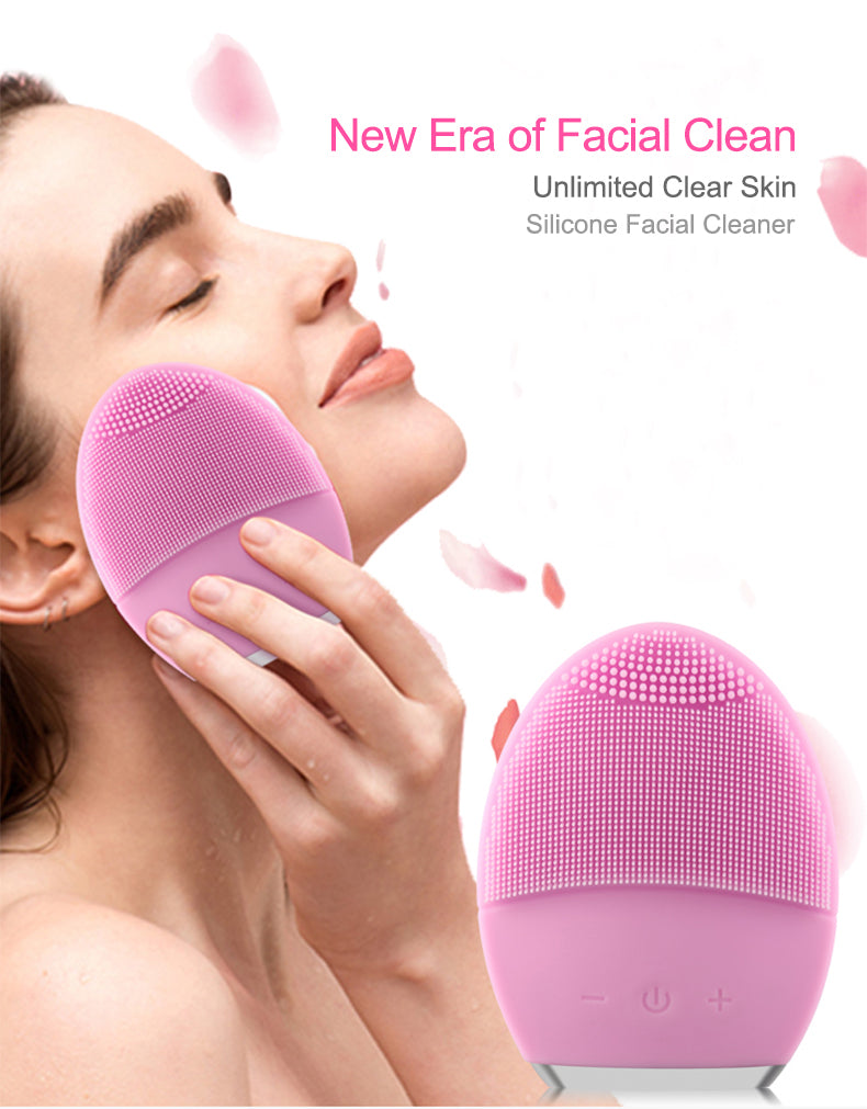 Facial Cleaner,Face Cleaning Mini Electric Massage Brush Washing Machine Waterproof Silicone Cleansing Tools