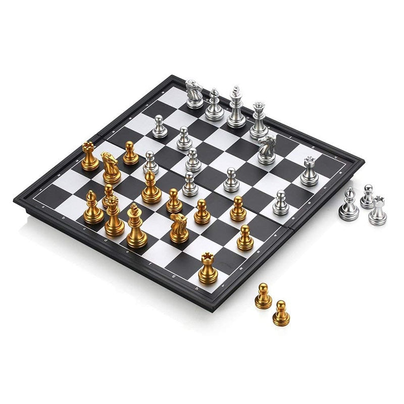 Hot Folding Magnetic Travel Chess Set For Kids Or Adults Chess Board Game 25x25cm (Gold&Silver Chess Pieces)
