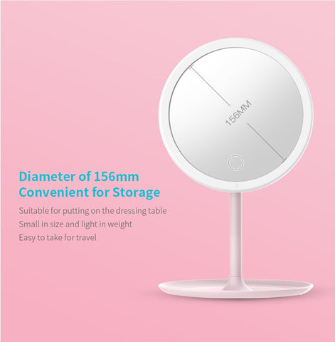 Image of LED Makeup Mirror Rechargeable Brightness Adjustable LED HD Makeup Daylight Mirror Mijia Makeup Mirror Cosmetics