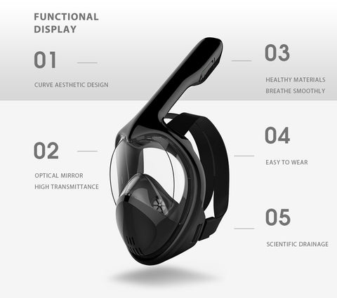 Panoramic View Anti-Leak Swimming Diving Mask GoPro Compatible