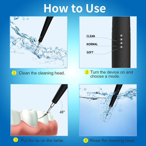 Dental calculus remover, Electric Portable Oral Irrigation teeth whitening Tartar Scraper Health Hygiene Dropping Greenish Blue