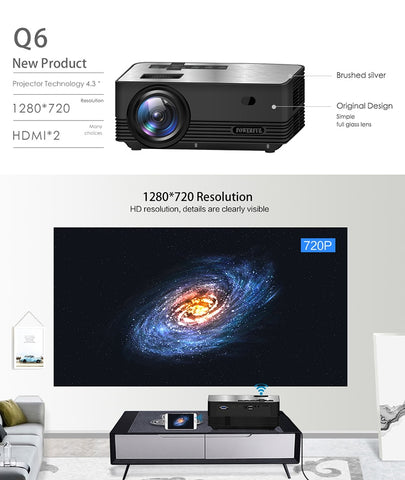 Image of Thinyou Q6 Smart Android Wireless WIFI Bluetooth Portable mini Projector Full-HD 1280*720P  Proyector Beamer Home Theater