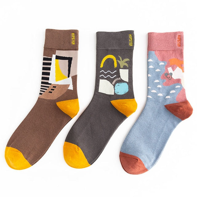 3Pairs/Pack Unisex Oil Painting Style Women Socks 100 Cotton Harajuku Colorful Christmas Funny Socks Women Standard Streetwear Size 35-43