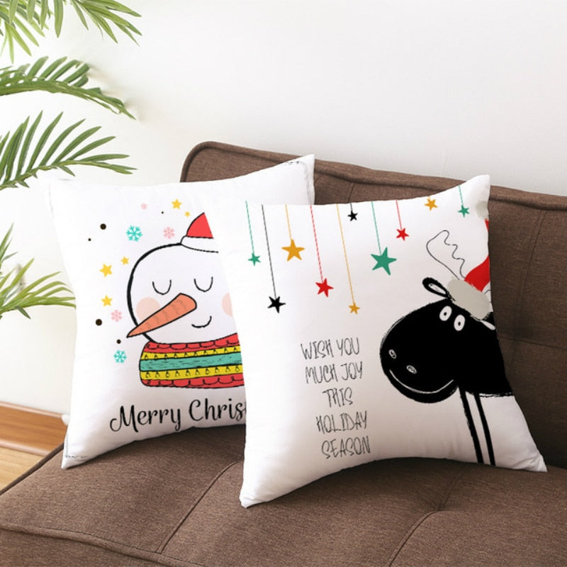 45*45CM Merry Christmas Cushion Cover Decorations for Home Navidad 2019 Noel Xmas Ornaments Gfts Pillowcase Happy New Year 2020