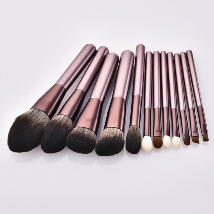 1/12pcs Makeup Brushes Makeup Brush Set Wooden Handle Face Powder Brush  LDO99