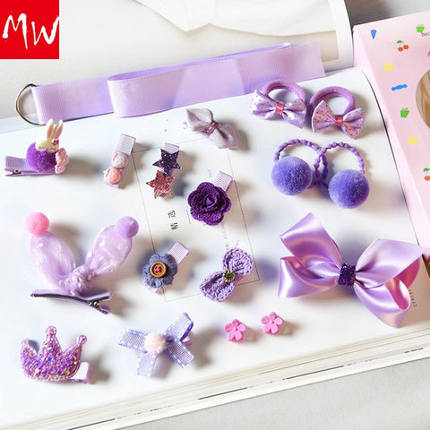 18pcs/box Ribbon Bow Rabbit Children Hairpins Cute Cartoon Hair clip Accessories Girls Princess Crown Barrette Headwear gift