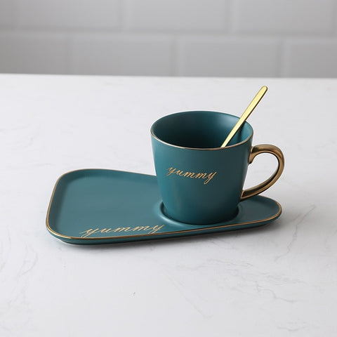Image of Ceramic coffee cup and saucer set Creative European Luxury Breakfast Snack Afternoon Tea Tableware Tray Set