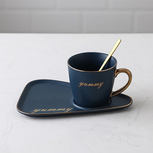 Ceramic coffee cup and saucer set Creative European Luxury Breakfast Snack Afternoon Tea Tableware Tray Set
