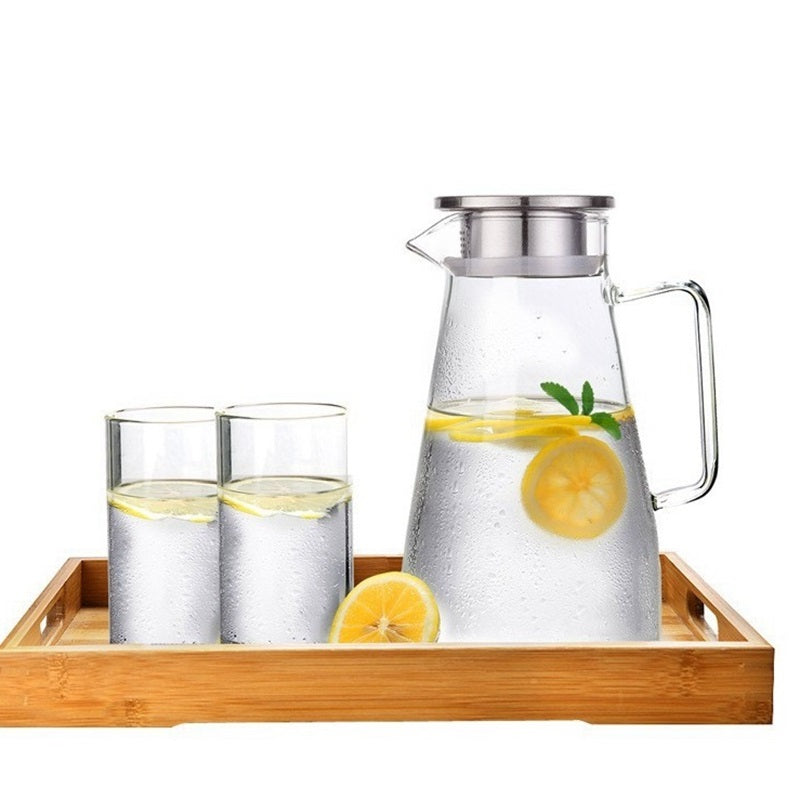 1.5L/1.8L/2L Heatable Glass Water Pot Cha Tea Kettle With Stainless Steel Filter Lid Fruit Juice Lemonade Jug Pitcher Drinkware