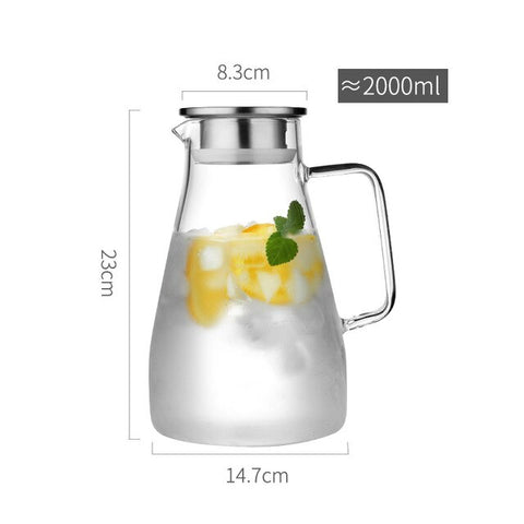 Image of 1.5L/1.8L/2L Heatable Glass Water Pot Cha Tea Kettle With Stainless Steel Filter Lid Fruit Juice Lemonade Jug Pitcher Drinkware