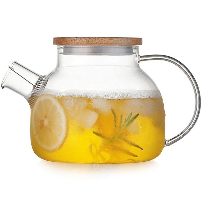 1000ml/1800ml Transparent Glass Water Jug Kettle Heatable Pitchers Juice Container With Stainless Steel Filter