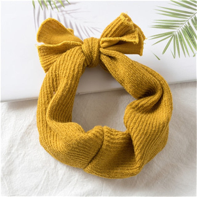 1 PC Winter Warm Ear Warmer Headwrap Christmas Girls' Crochet Headband Knitted Bow Hairband Hair Band Accessories