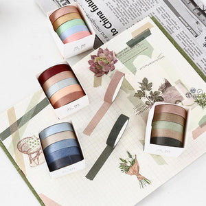 5 pcs/pack Striped/Grid/Flowers Basic Solid Color paper Washi Tape Adhesive Tape DIY Scrapbooking Sticker Label Masking Tape