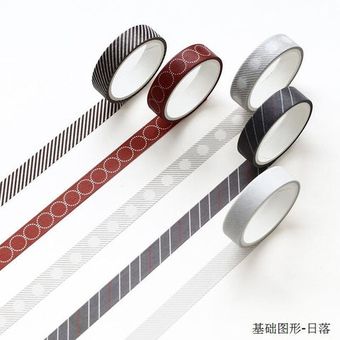 Image of 5 pcs/pack Striped/Grid/Flowers Basic Solid Color paper Washi Tape Adhesive Tape DIY Scrapbooking Sticker Label Masking Tape