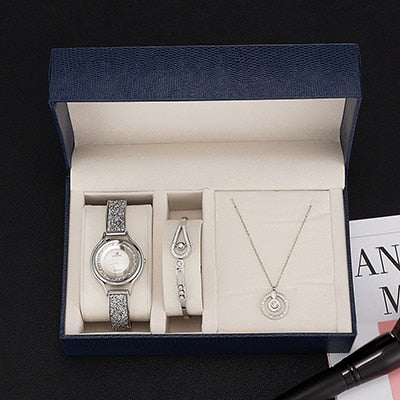 3Pcs gift box set  women luxury wrist watch/stainless steel bangle/stainless steel necklace set popular smart style