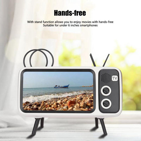 Image of Retro TV-shaped Bluetooth Speaker HD Stereo Loudspeaker for under 6 Inch Mobile Phone Stand