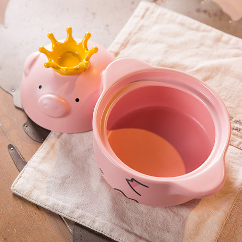 1pc Pink Pig High temperature resistance Casserole handle Ceramic Cooker Kitchen Supplies