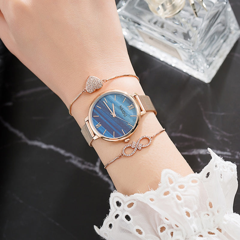 Rose Gold Watches Women Set Luxury Jewelry Bracelet Watches Set 2019 New Ladies Quartz Watch Gifts For Women Watch Box
