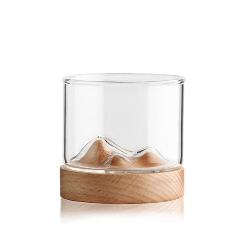Mountain Whiskey Glass with Wooden Base Rocks Beer Glass Wine Cup Irish Bourbon Scotch Whiskey Glasses Set Bar Hotel Drinkware