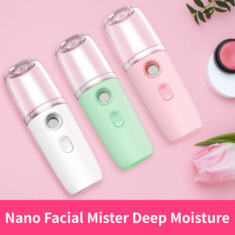 2019 New Portable USB Rechargeable Nano Humidifier Cooling Mist Sprayer Nano Facial Steamer Beauty Device