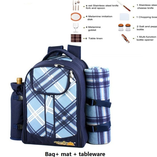 Picnic bag Portable camping backpack with cutlery refrigerator bag cubiertos picnic set for 4 Camping cooler bags with blanket