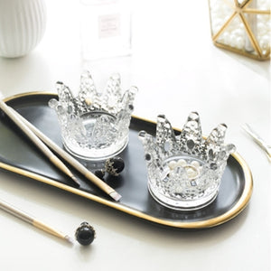 Multifunctional Glass Crown Candlestick Crystal Ashtray Home Practical Jewelry Storage Tray