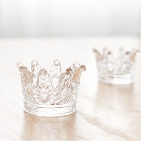 Image of Multifunctional Glass Crown Candlestick Crystal Ashtray Home Practical Jewelry Storage Tray