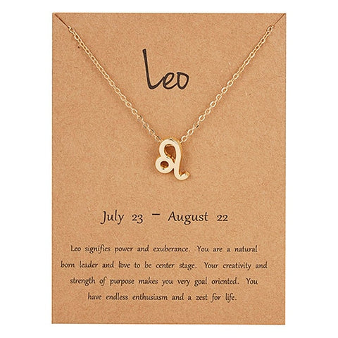 Image of Female Elegant Star Zodiac Sign 12 Constellation Necklaces Pendants Charm Gold Chain Choker Necklaces for Women Jewelry Dropship